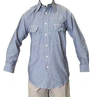 1f36f8743f Ws Blue Collar Outlet Men s Chambray Long Sleeve Shirt