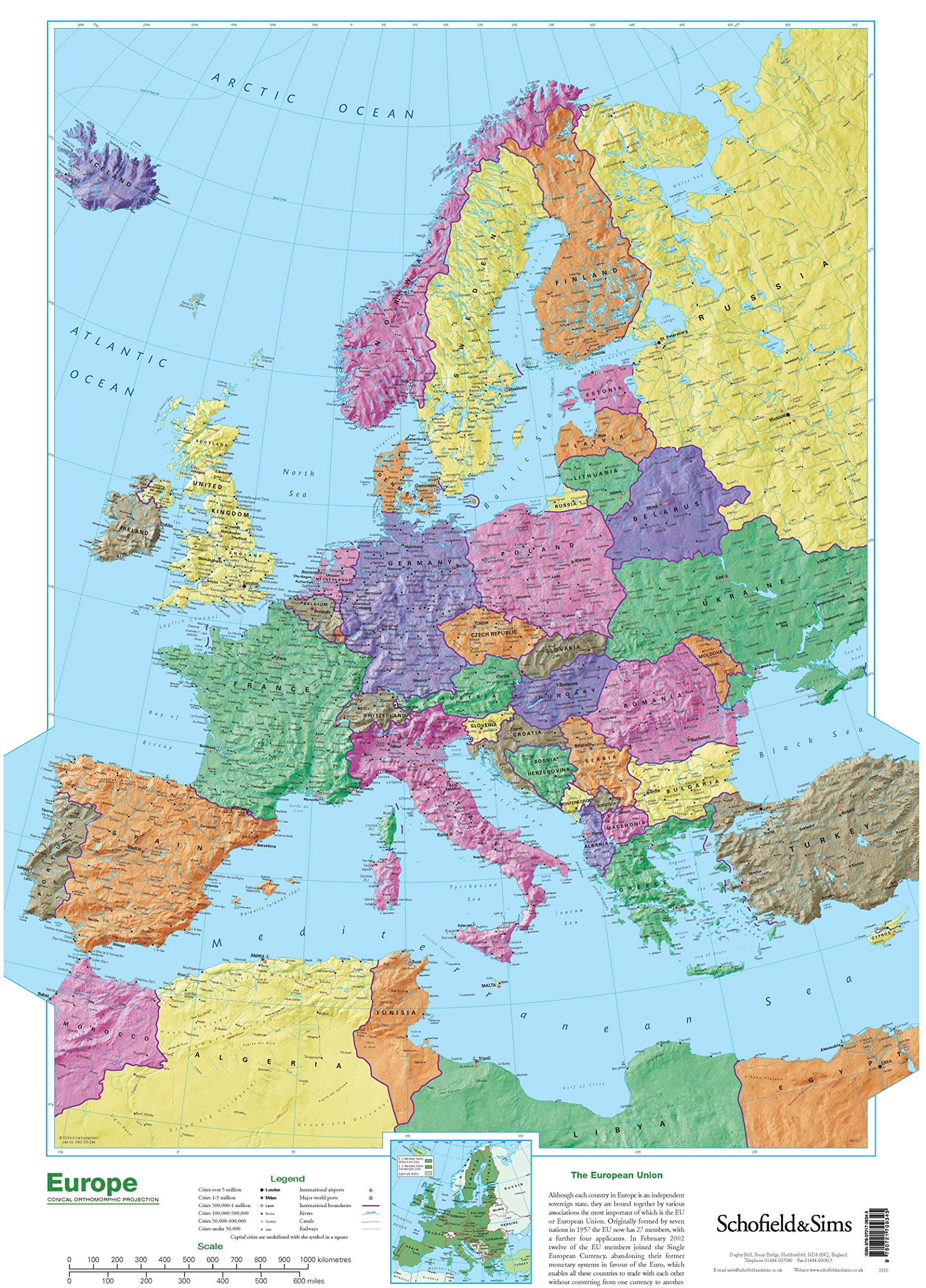 Map of Europe: Amazon.co.uk: Schofield & Sims: 9780721709345 ...
