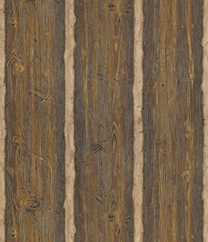 Brewster 145 41382 Northwoods Lodge Dakota Brown Textured Rustic Wood Wallpaper