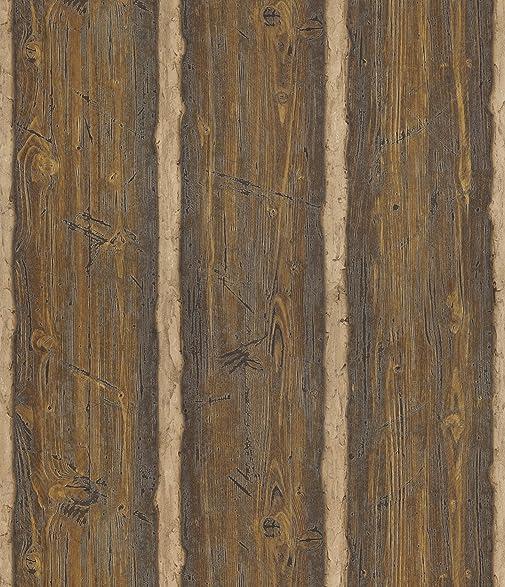 Brewster 145 41382 Northwoods Lodge Dakota Brown Textured Rustic Wood Wallpaper