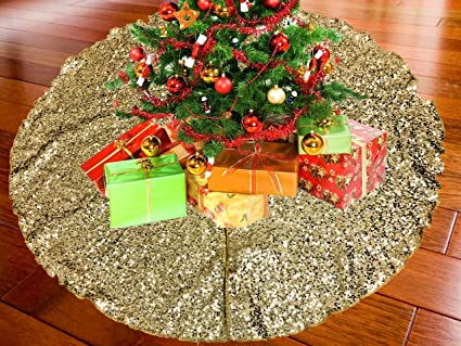 Ak Trading 52 Gold Christmas Sequin Tree Skirt Sparkly Glittery Sequin Xmas Tree Skirt Made In Usa