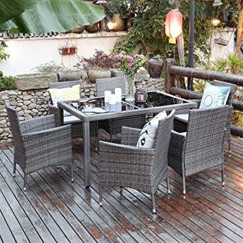 7 Piece Patio Wicker Dining Set,Wisteria Lane Outdoor Rattan Dining  Furniture Glass Table Cushioned