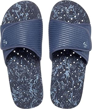 Showaflops Mens' Antimicrobial Shower & Water Sandals for Pool, Beach, Dorm and Gym - Bright Adjustable Colorblock Slide