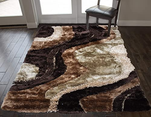 8 x10 Feet Shag Shaggy Furry Rectangular 3D Carved Patterned Plush Large Fuzzy Floor Soft Modern Contemporary Pile Bedroom Living Room Area Rug Carpet Rug Light Brown Dark Brown Gold Colors
