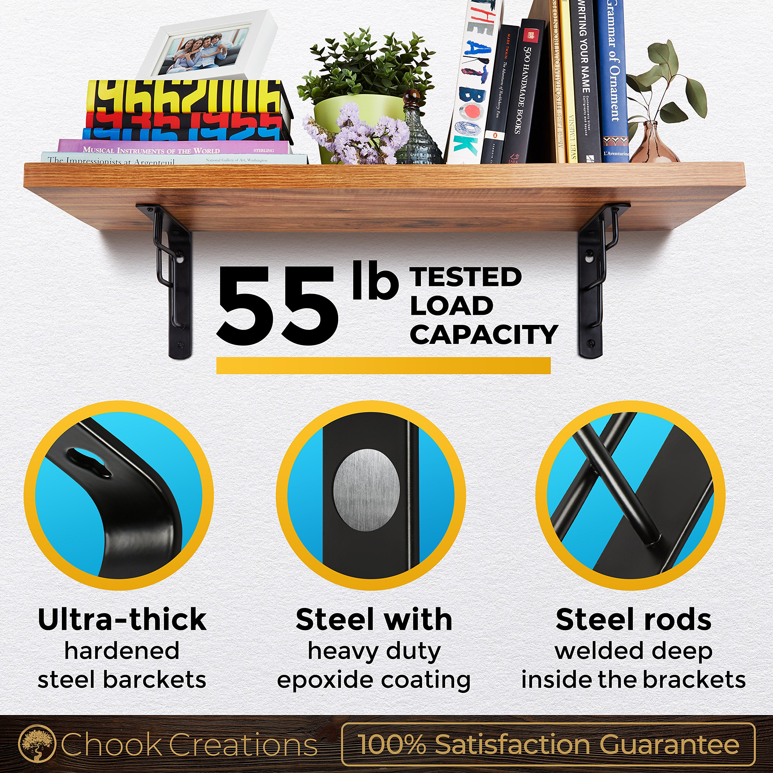 CHOOK – L Shape Shelf Brackets, Heavy Duty, Modern, Decorative | Fit 7 to 12 Inch Shelves | 4 Pack with Screws and Anchors | Semi Industrial Design | for Home or Workplace | Steel Metal black by Chook Creations (Image #4)