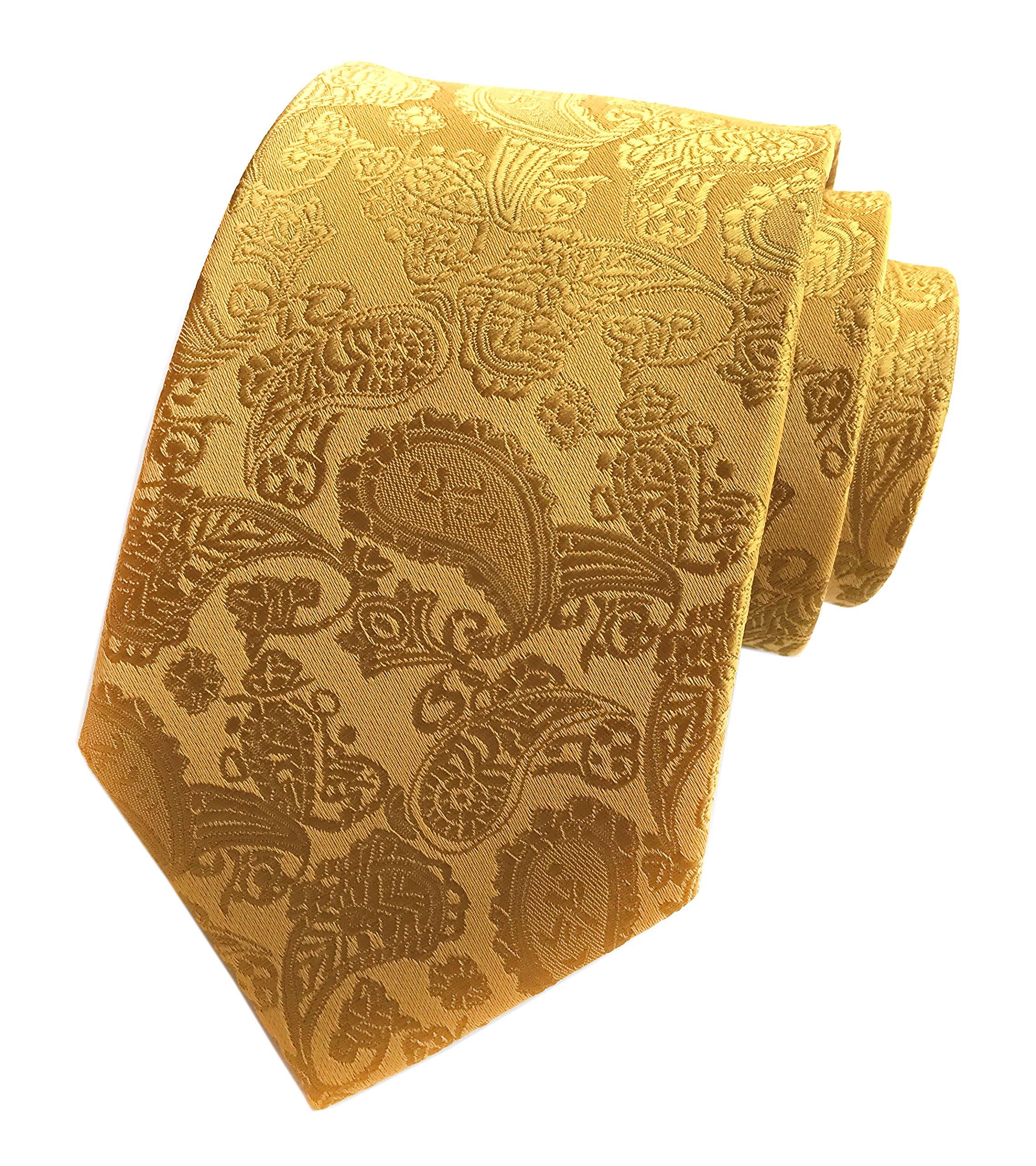 Elfeves Mens Golden Jacquard Silk Ties Handmade Casual Party Luxurious Neckties