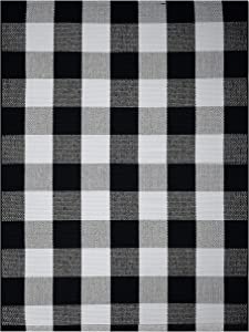 Farmhouse Buffalo Check Plaid Rug: 36x48 Large Black and White Outdoor Rug   Buffalo Plaid Front Door Mat   Front Porch Rug   Outside Rugs Best Layered Under Welcome Doormat   Farmhouse Kitchen Rugs