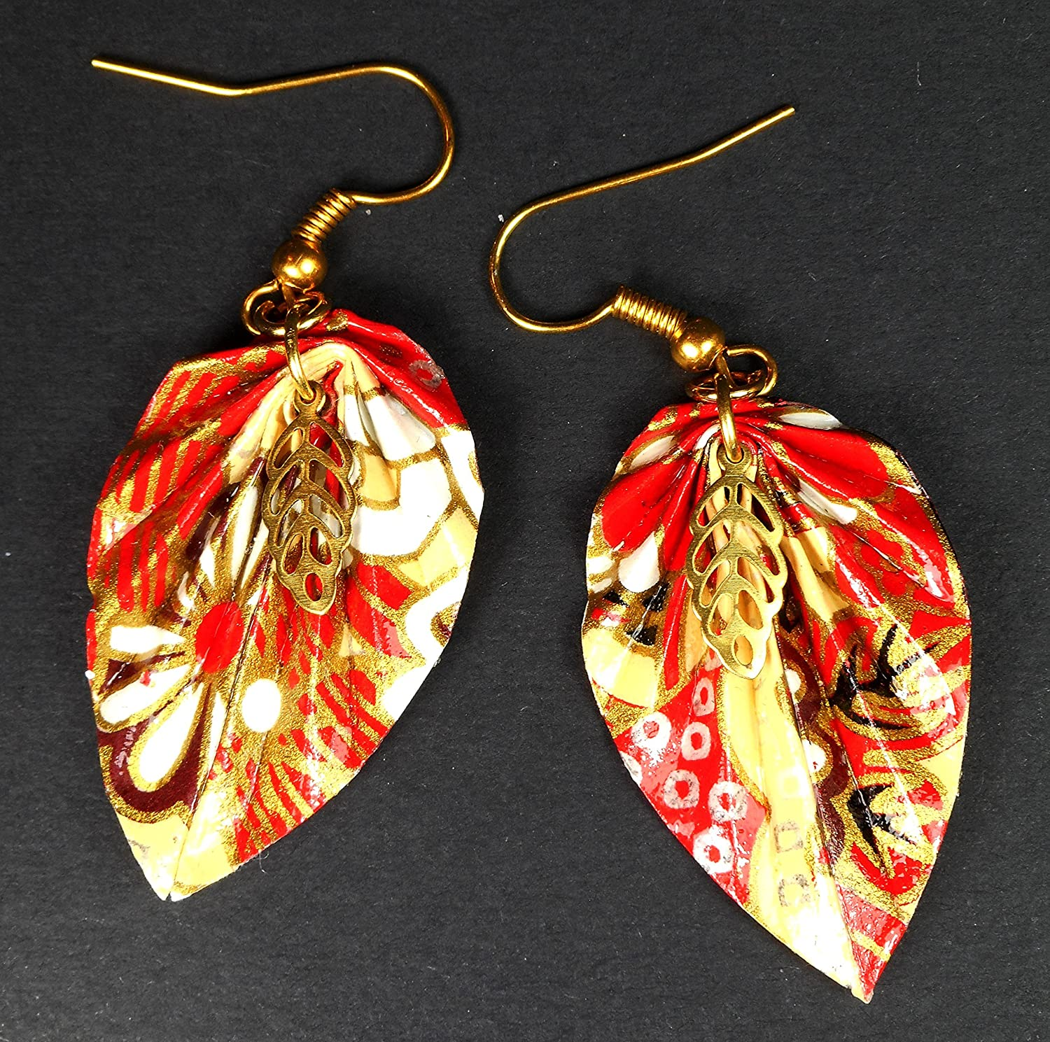 Leaf origami earrings - Red and gold leaf — Crafted by A   1489x1500