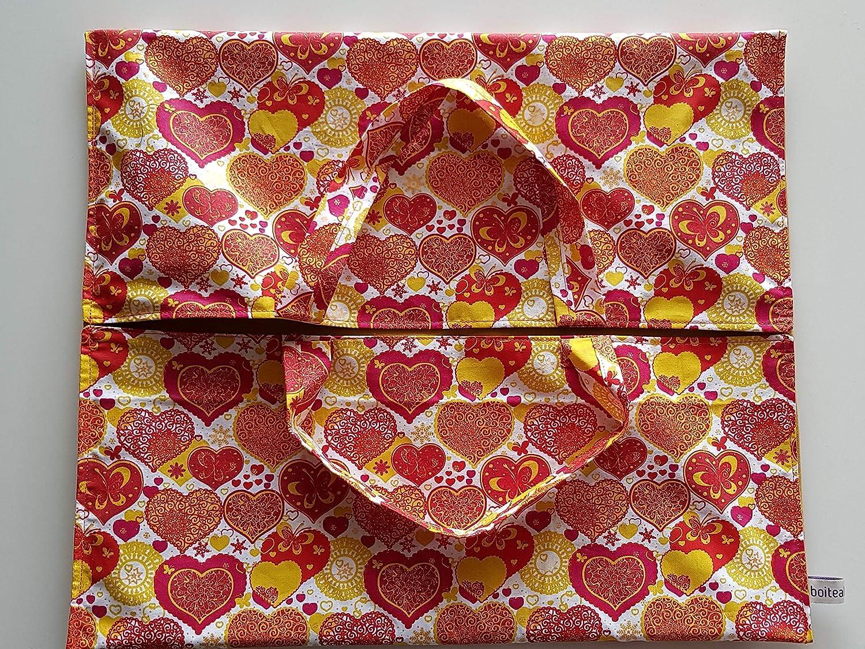 Sac /à tarte grand mod/èle en tissu coton motif coeurs et int/érieur tissu enduit