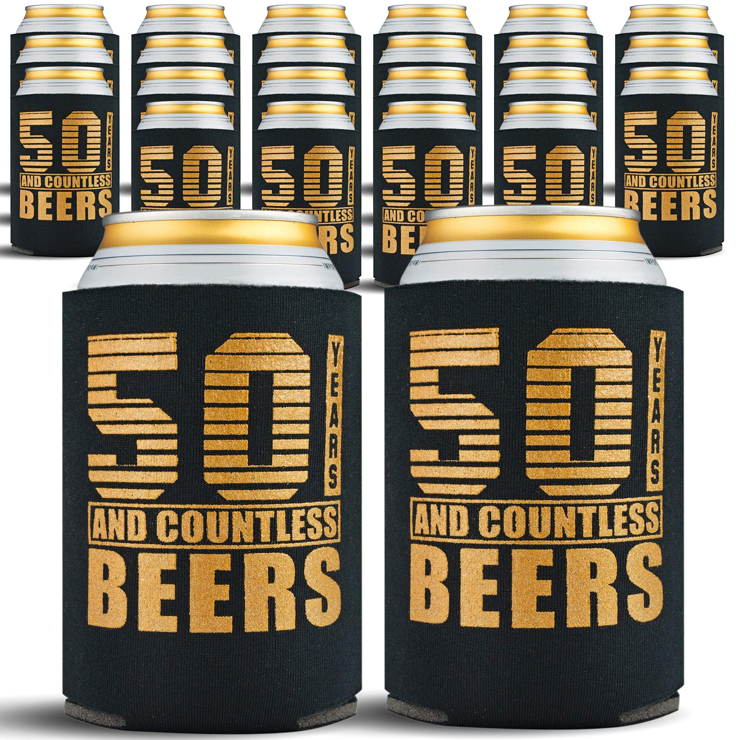 50th Birthday Gifts Men or for Women - 24-Pack Can Coolers - 50th Birthday Gift Ideas Beer Sleeve - 24 Beer Cooler Insulated Sleeves - 50th Birthday Decorations for Men, Black with Gold Lettering by Gold Coastal