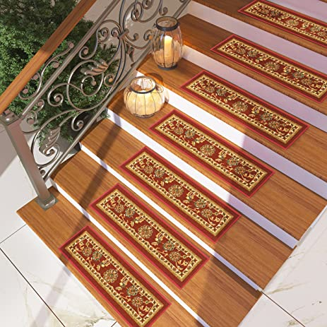 [Set Of 7] Red Floral Stair Tread Rugs | Modern Design Carpet Treads [