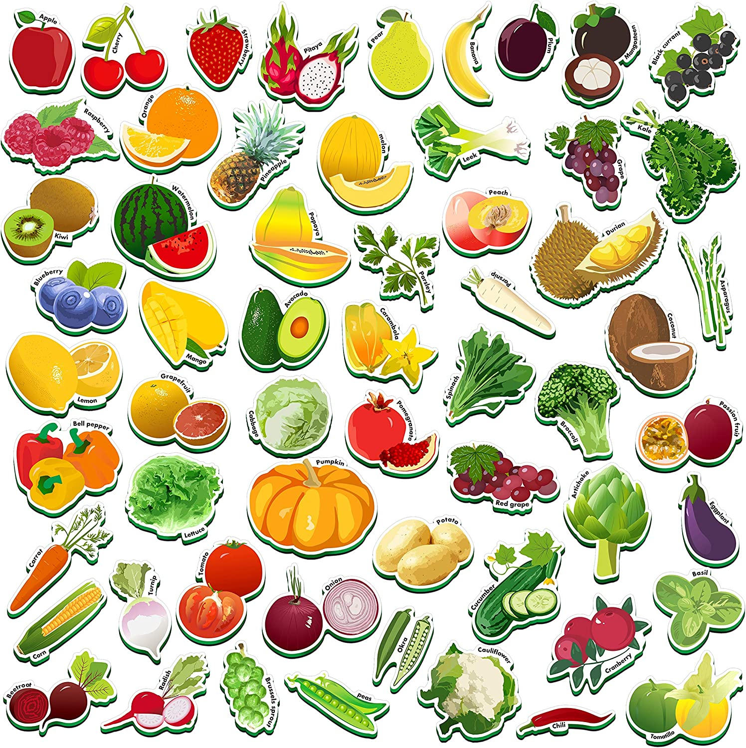 Spritegru 59 PCS Fruits & Veggies Magnets for Toddlers Kids, Perfect for Preschool Learning