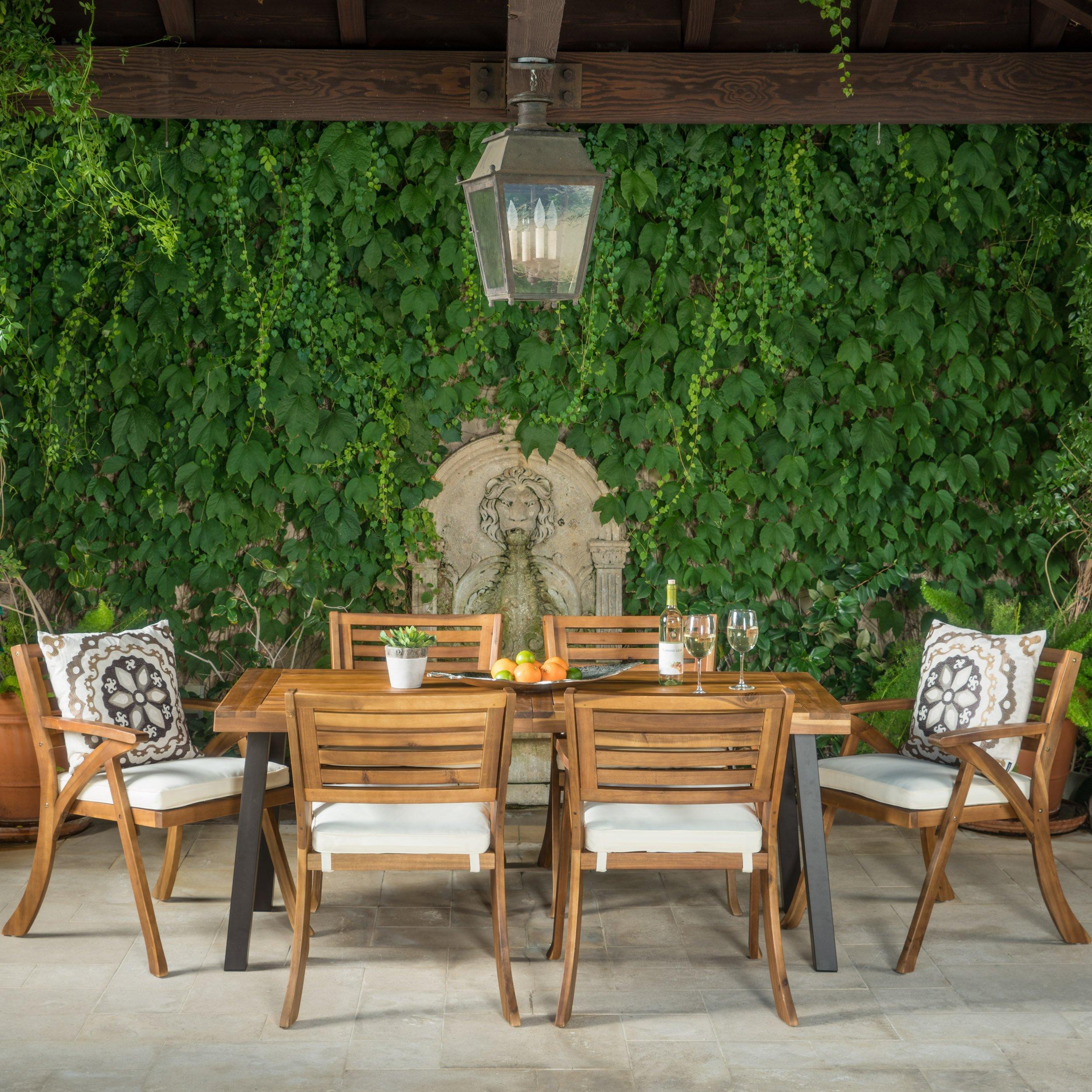 Christopher Knight Home DeSoto7 Piece Teak Finish Acacia Wood Patio Dining Set