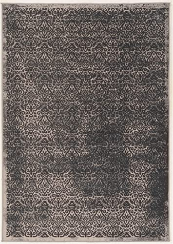 Classic Microfiber Area Rug in Gray and Charcoal 7 ft. 6 in. L x 5 ft. W
