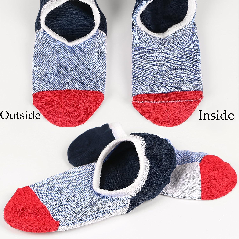 6Pack M/&Z Mens Cotton Low Cut No Show Casual Non-Slide Socks OS Multicolor