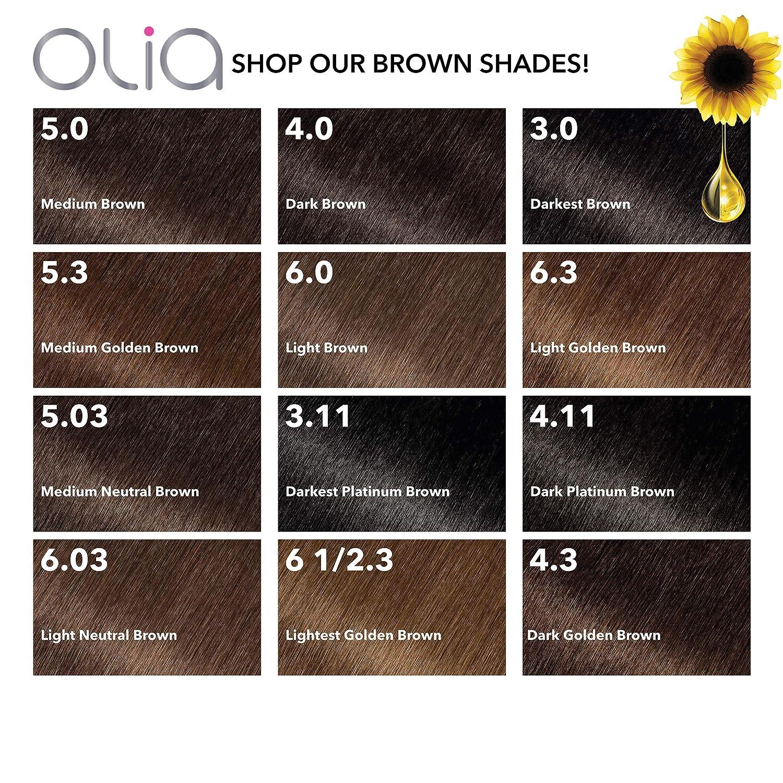 Garnier Olia Hair Color, 5.0 tinte de cabello marrón sin amoniaco (embalaje puede variar)