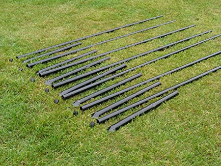 For 7.5/' Deer Fencing Black PVC Coated Galvanized Steel Posts 7-Pack