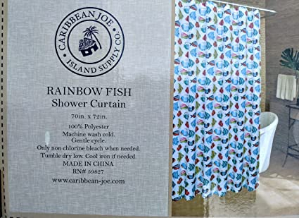 Amazon Caribbean Joe Rainbow Fish Shower Curtain 70 X 72