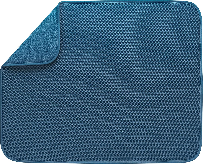"S&T 532801 XL Dual Sided Mesh Dish Drying Mat 18"" x 24"", Cornflower Blue"