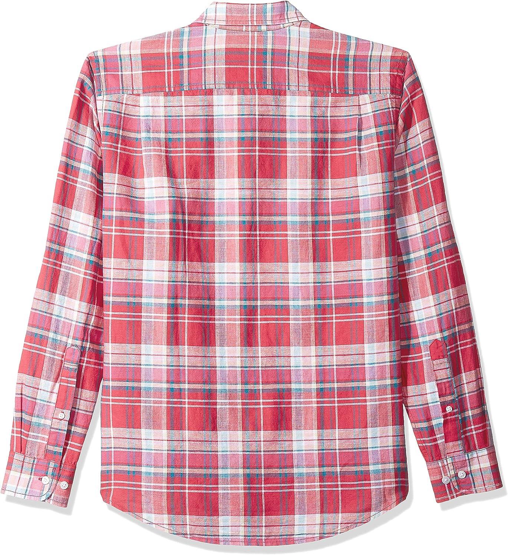 Essentials Mens Slim-fit Long-Sleeve Stripe Linen Shirt