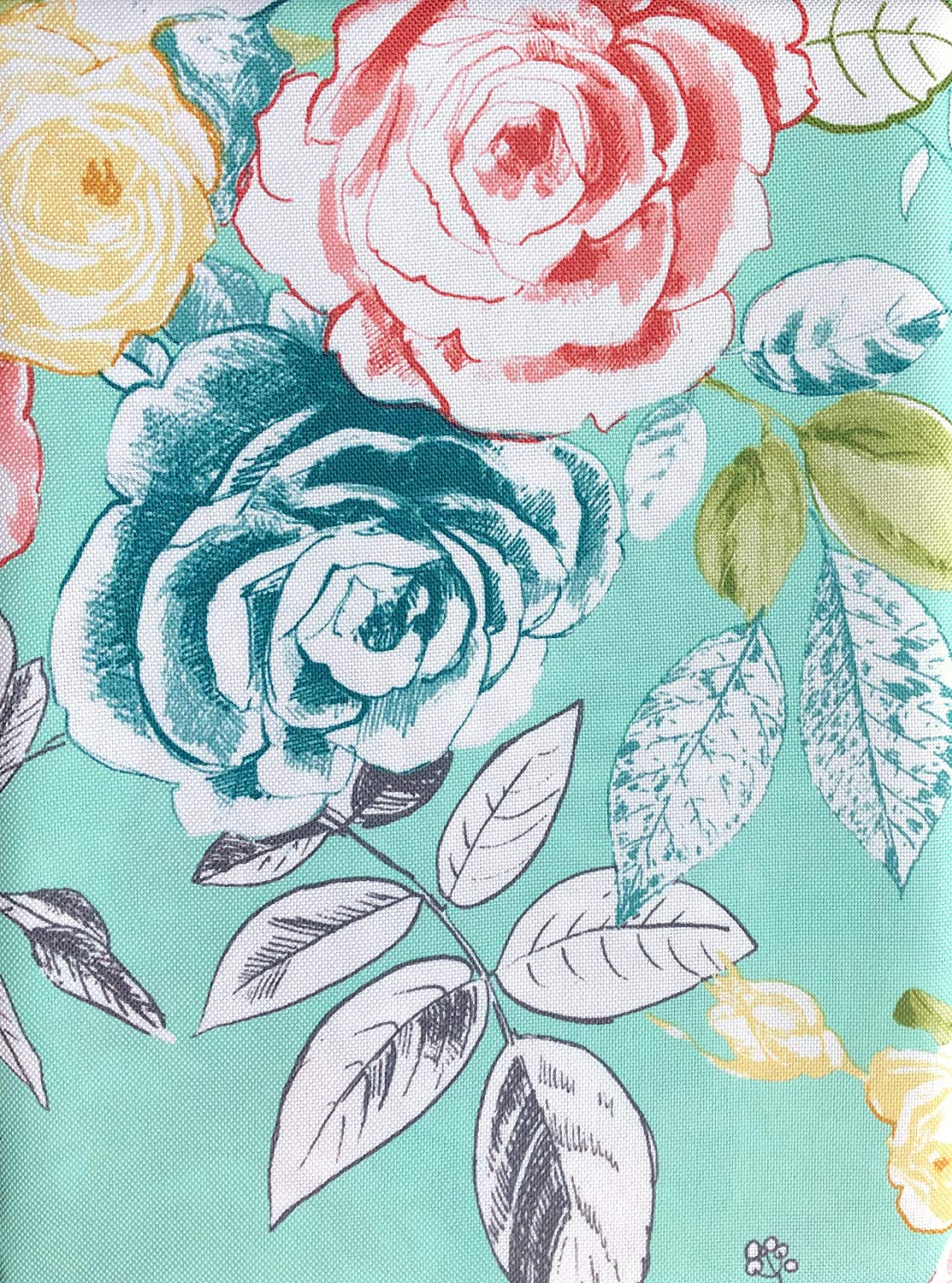 Tabitha Webb Floral Easy Care Tablecloth Flowers Leaves Red Pink Green Aqua 60 Inches by 84 Inches