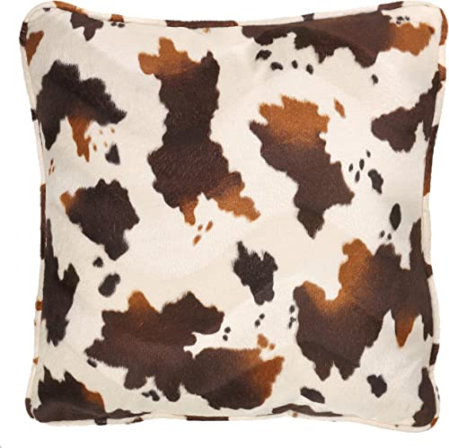 Cortesi Home Square Accent Pillow, Brown and White Pony Fabric