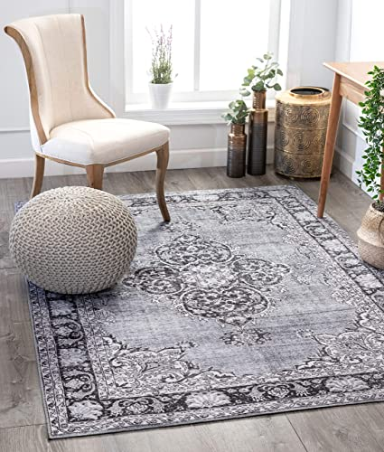 Well Woven Mareva Machine Washable Grey Vintage Oriental Medallion Area Rug 3×5 3 9 x 5 7
