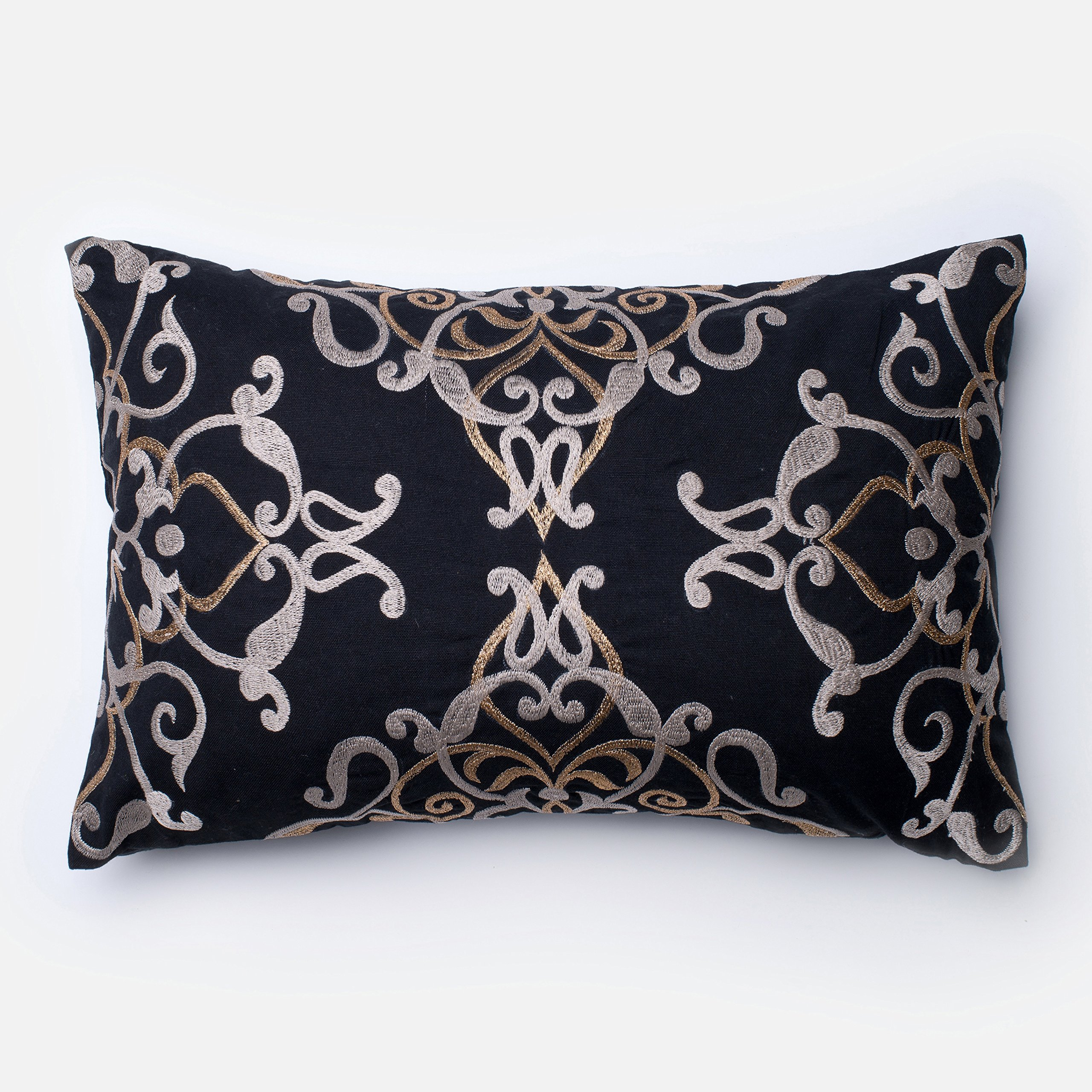 Alexander Home Embroirdered Cotton Black Filigree Feather and Down Filled or Polyester Filled 13 x 21 Lumbar Throw Pillow or Pillow Cover Down,