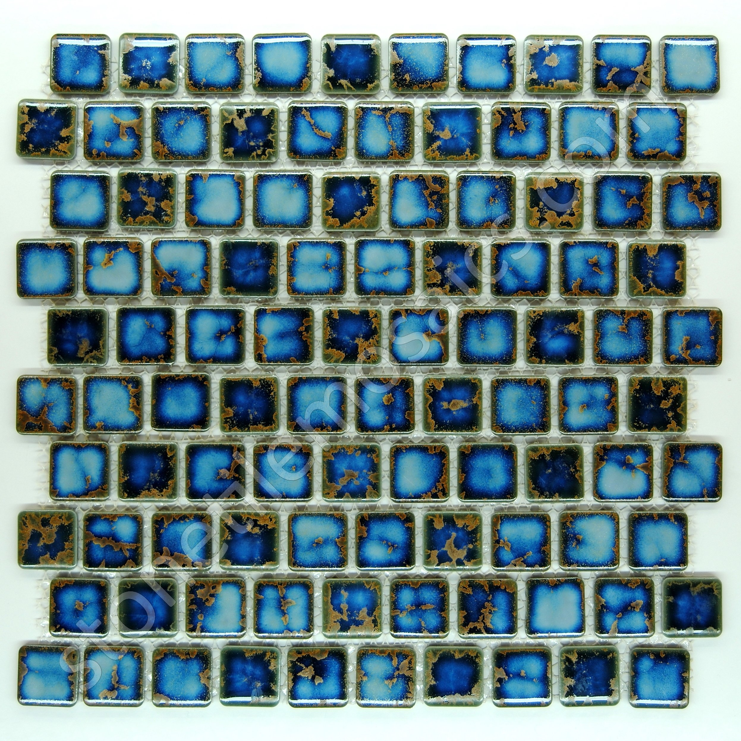 Square Tile Blue Calacatta Porcelain Mosaic 1-1/8'' X 1-1/8'' for Bathroom Floors, Walls and Kitchen Backsplashes, Pool Tile (Box of 5 Sq Ft)