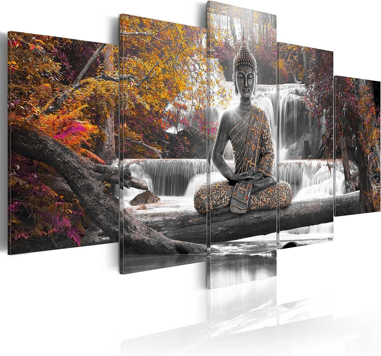 murando - Cuadro en Lienzo Buda 200x100 cm Impresión de 5 Piezas Material Tejido no Tejido Impresión Artística Imagen Gráfica Decoracion de Pared Oriente Zen Cascada c-A-0021-b-p
