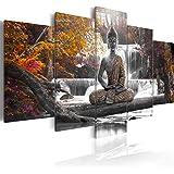 murando - Quadro 200x100 cm - 5 Parti - Quadro su tela fliselina - Stampa in qualita fotografica - Buddha paesaggio natura cascata albero bosco vari colori c-A-0021-b-p
