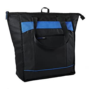 Rachael Ray ChillOut Thermal Tote, Insulated Bag forGrocery Shopping /Entertaining, Transport Hot and Cold Food, Black with Blue Trim