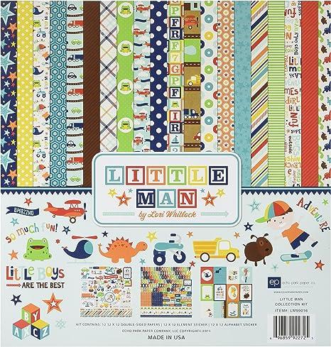Multicolor Element 12 x 12 Echo Park Paper LM99014 Little Man Cardstock Stickers
