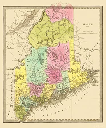 State Map Of Maine.Amazon Com Old State Map Maine 1840 23 X 27 8 Matte Art