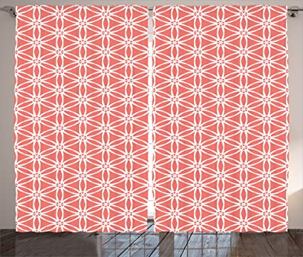Amazon.com: Ambesonne Coral Decor Curtains, Simplistic Linear ...