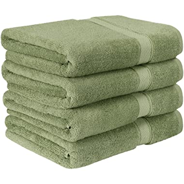 Utopia Towels Premium Bath Towels (Pack of 4, 27 x 54) 100% Ring-Spun Cotton Towel Set for Hotel and Spa, Maximum Softness and Highly Absorbent (Sage Green)