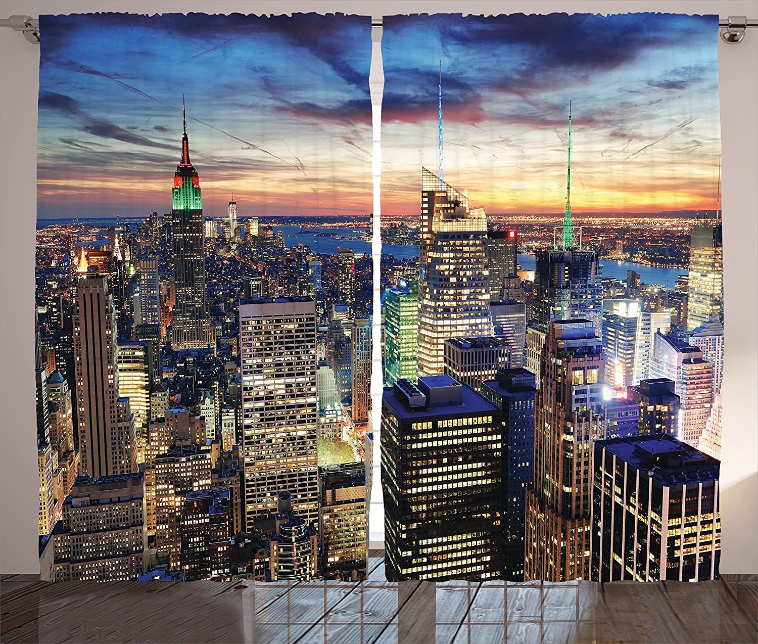 Ambesonne New York Curtains Decor, Skyline of NYC with Urban Skyscrapers at Sunset Dawn Streets USA Architecture, Living Room Bedroom Window Drapes 2 Panel Set, 108 W X 84 L Inches, Orange Blue