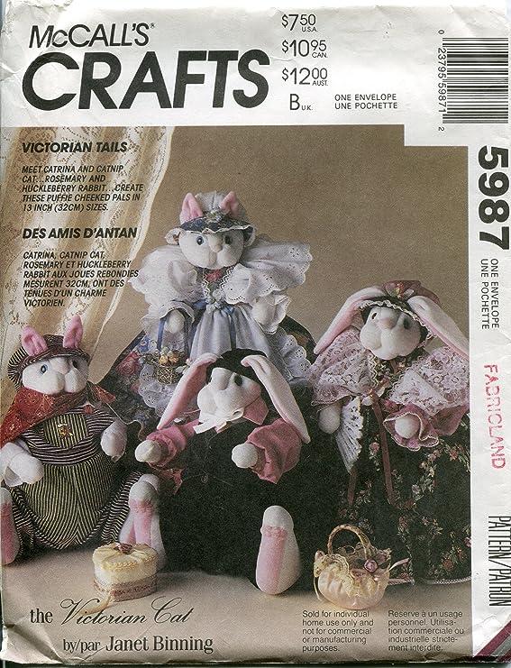 CAT Kitty BUNNY MONKEY Toy Stuffed Animal Sock DOLLS Craft PATTERN #1443 McCall