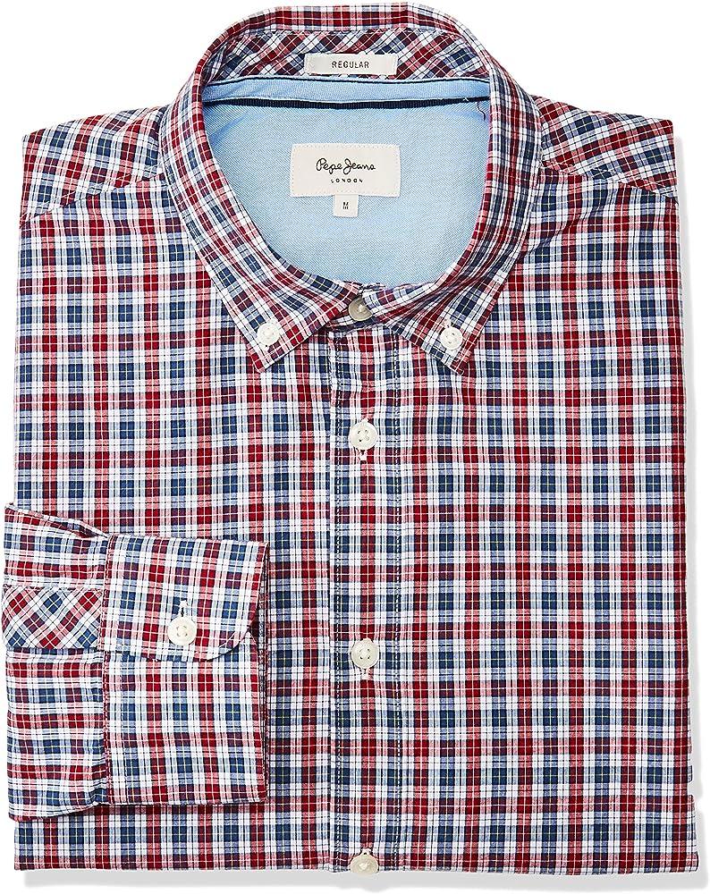 Pepe Jeans Camisa Thomas Cuadros para Hombre S Rojo: Amazon.es: Ropa y accesorios