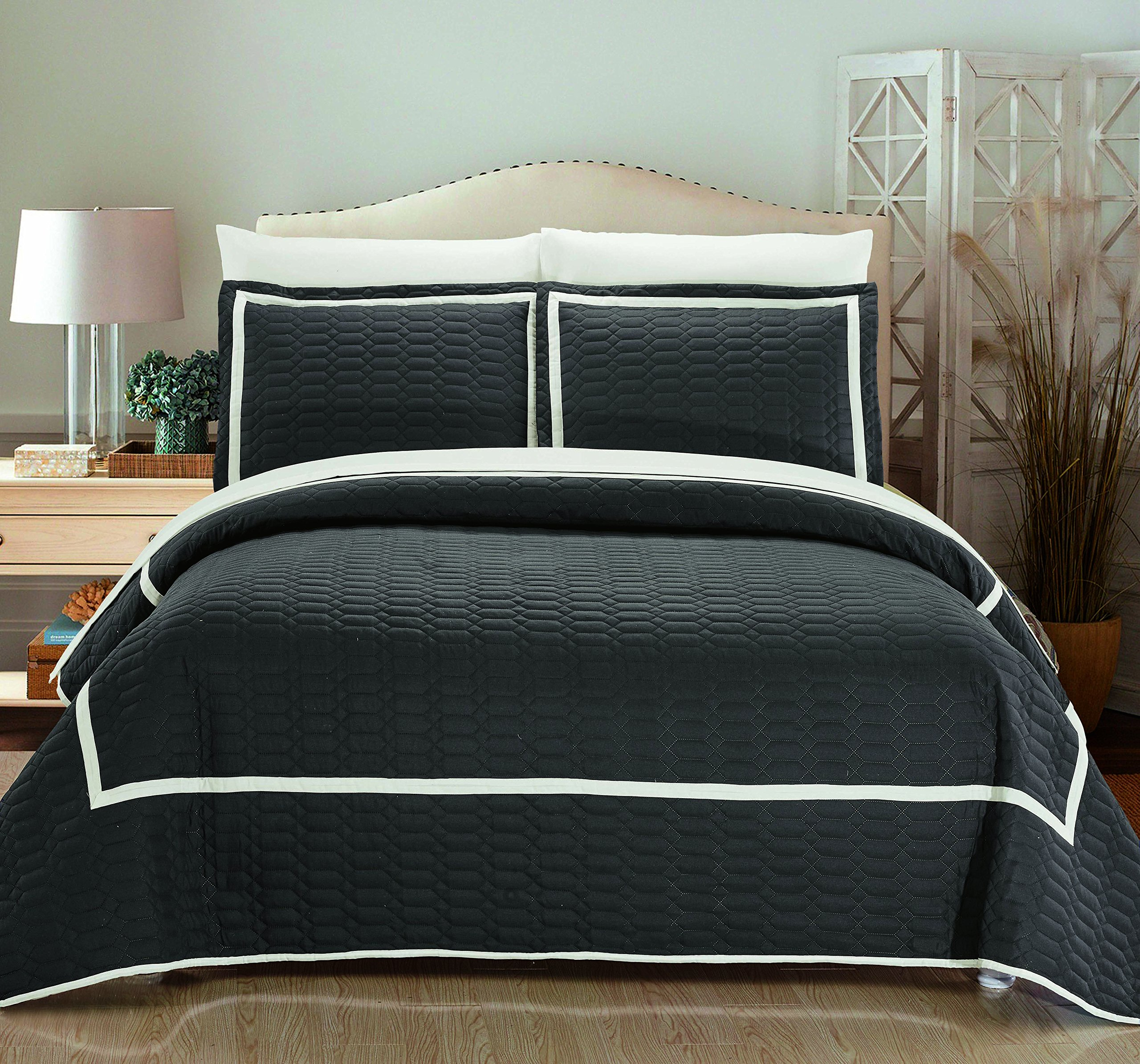 Chic Home 3 Piece Birmingham Hotel Collection 2 Tone Banded Quilted Geometrical Embroidered, Quilt Set , King, Grey