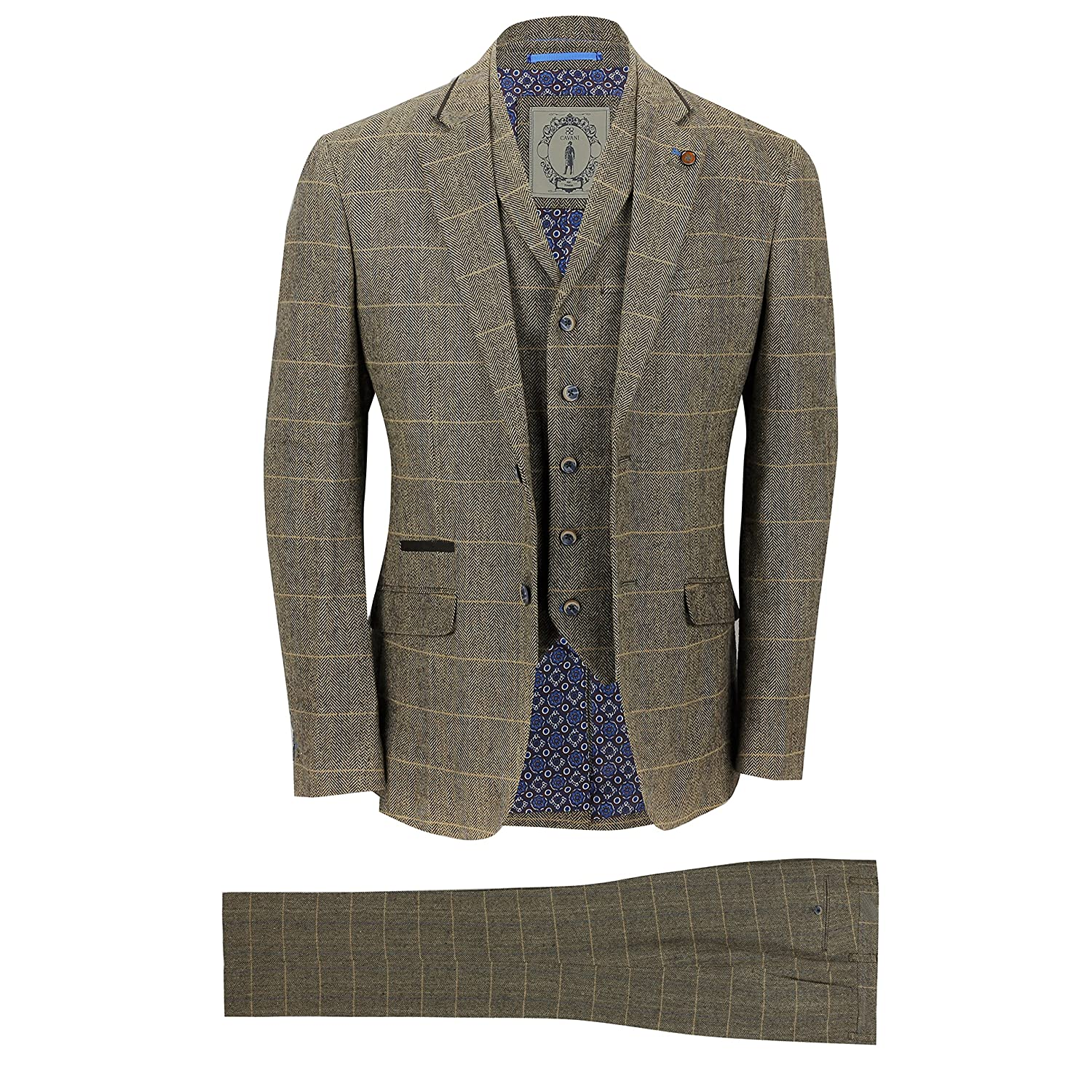 Cavani Mens 3 Piece Tweed Suit Vintage Tan Brown Herringbone Check Retro Slim Fit Jacket, Waistcoat, Trousers