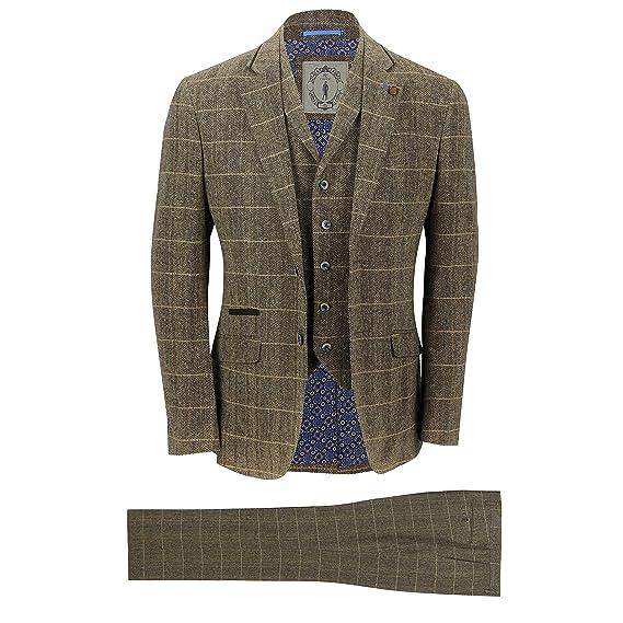 half off order most popular Mens 3 Piece Tweed Suit Vintage Tan Brown Herringbone Check Retro Slim Fit  Jacket, Waistcoat, Trousers