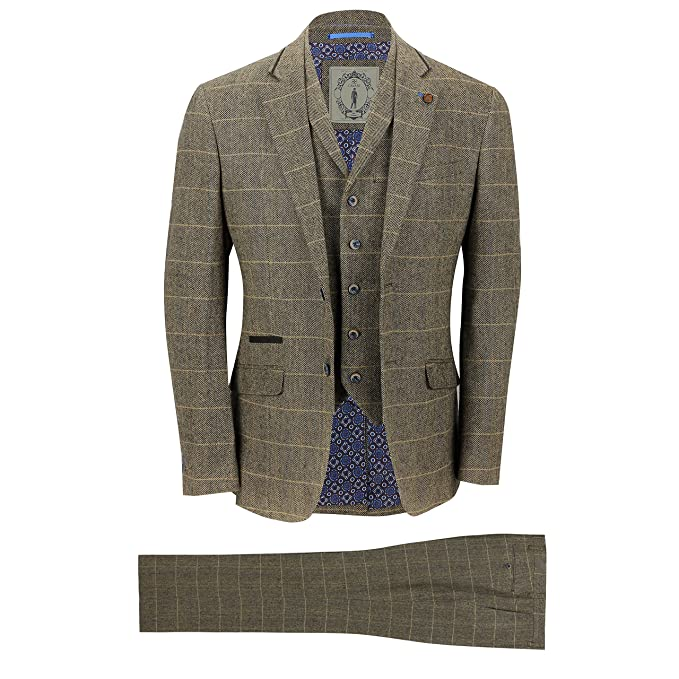 Tweed Herringbone Business Men Suits Slim Fit for Man Jacket Blazer Lapel 2 Vent