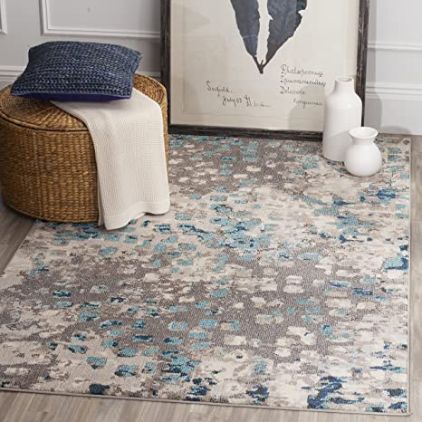 Safavieh Monaco Collection Mnc225e Boho Chic Abstract Watercolor Non Shedding Stain Resistant Living Room Bedroom Area Rug 3 X 5 Grey Light Blue Furniture Decor