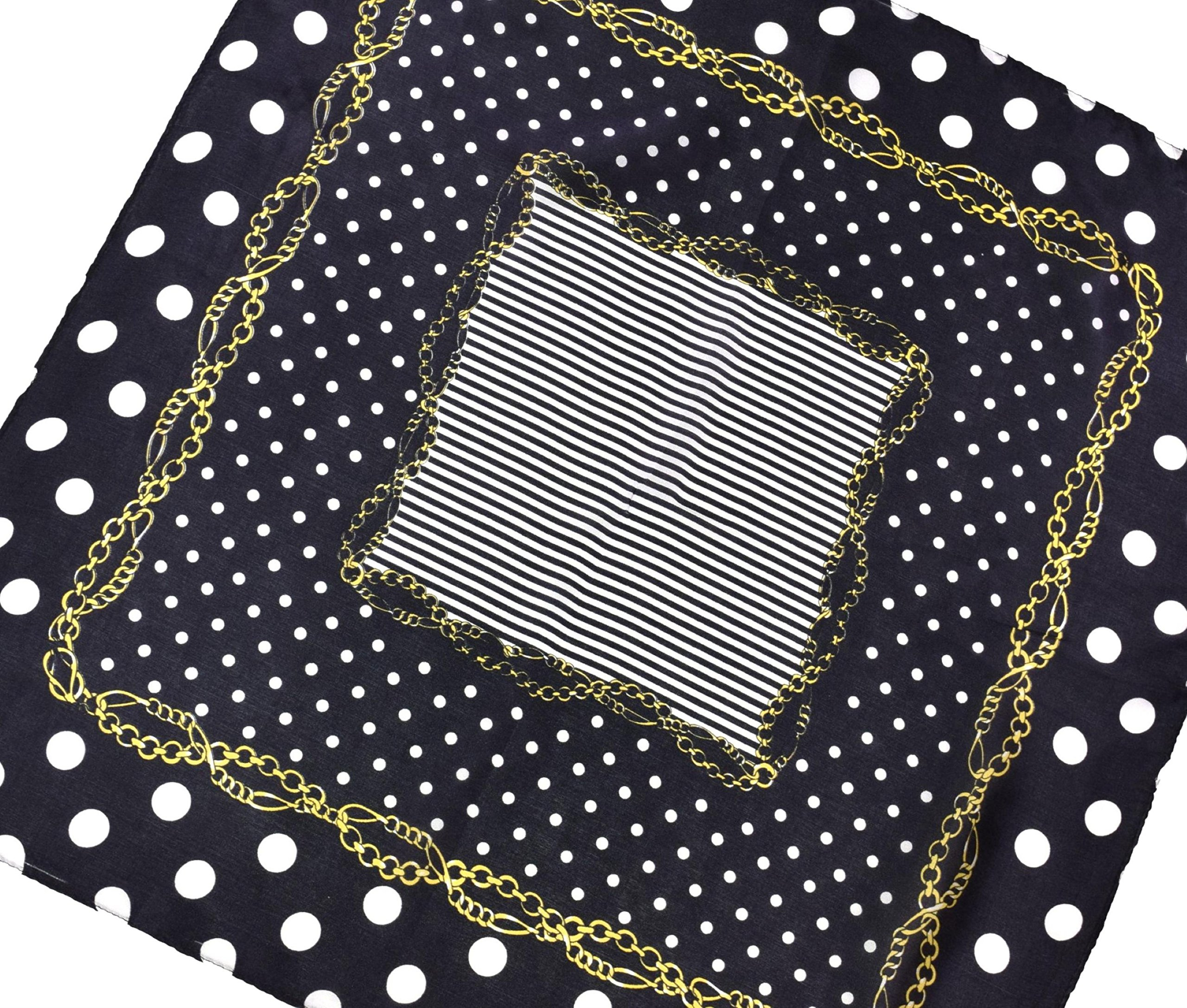 Black White Gold Spotted Printed Fine Small Square Silk Scarf by Bees Knees Fashion (Image #3)