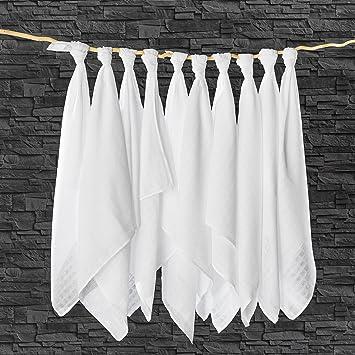 Muselina / Paño algodón bebe - 10 Ud., 80x80 cm, blanco | CALIDAD SUPERIOR - sin sustancias nocivas, tejido doble, certificado OEKO-TEX, bordes ...