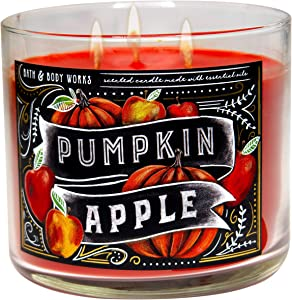 White Barn Candle Company Bath and Body Works 3-Wick Scented Candle w/Essential Oils - 14.5 oz - Many Scents! (Pumpkin Apple)