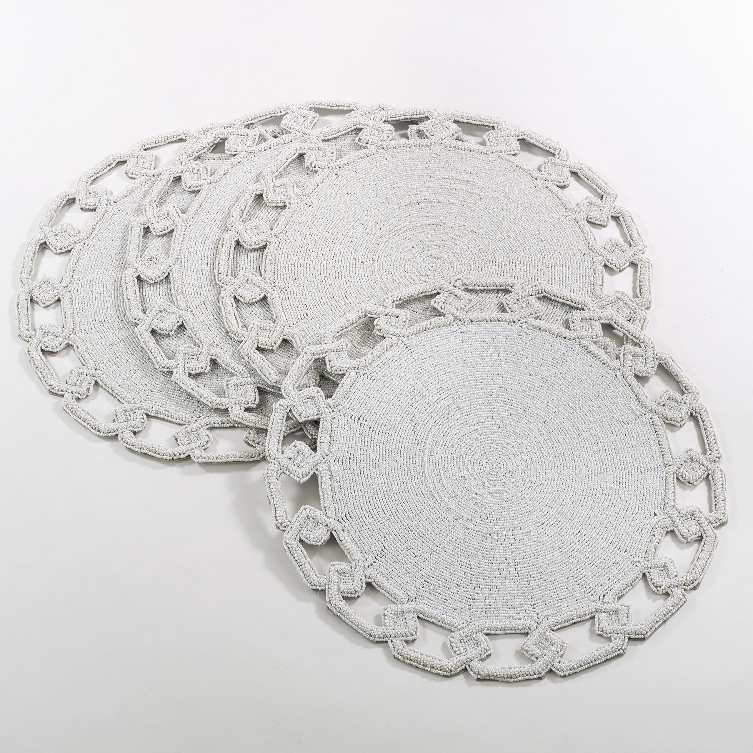 White Chain Link Design Beaded Placemat 15'' Round , (4 Piece Set)