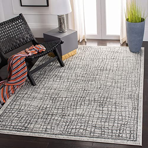Safavieh Adirondack Collection ADR103B Silver and Ivory Modern Distressed Area Rug 6 x 9