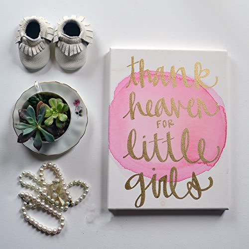 Amazon.com: Thank Heaven for Little Girls Watercolor Canvas ...